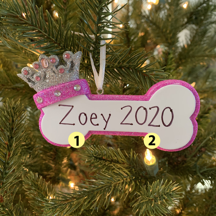 Pink Dog Bone with Princess Crown Personalized Christmas Ornament -2
