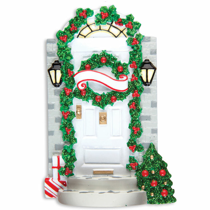 Front Door with Steps Personalized Christmas Ornament