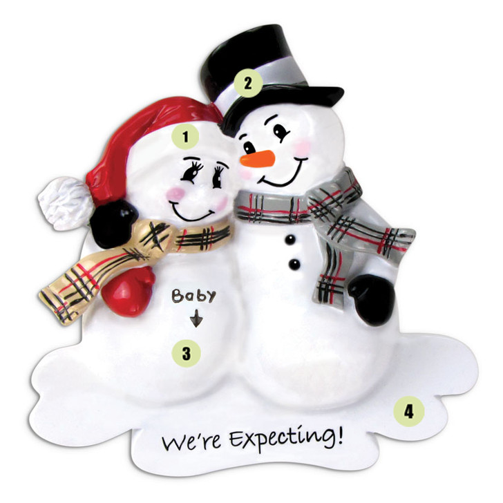 We're Expecting! Snowmen Personalized Christmas Ornament