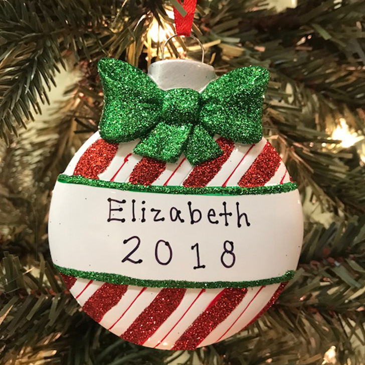 Red Stripes Christmas Ball Personalized Christmas Ornament