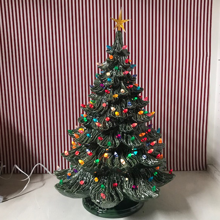 Large Ceramic Lighted Christmas Tree 23""
