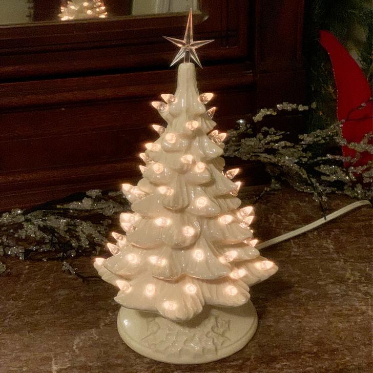 """Hvidt keramisk oplyst juletræ 12 """""""
