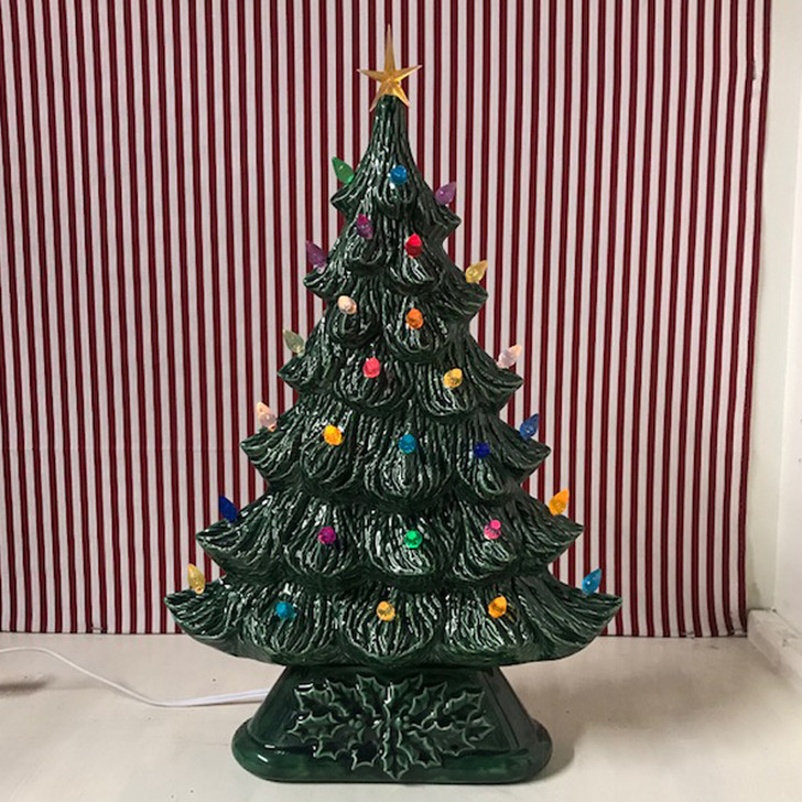 Large Flat Ceramic Lighted Window or Mantel Christmas Tree 19""