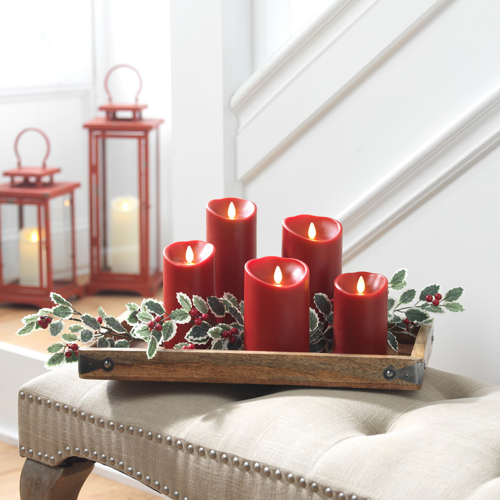 """Liown 3.5"""" x 5"""", 7"""", or 9"""" Moving Flame Burgundy / Red-Cinnamon Scented Pillar Battery Candle 2"""