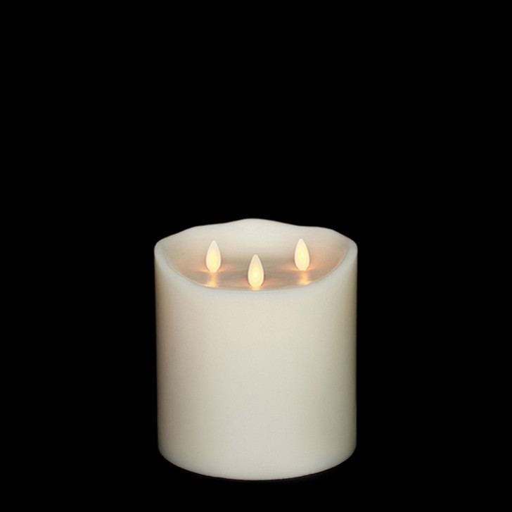 """Liown 6"""" Moving Triflame Ivory Unscented Battery Candle 17979"""