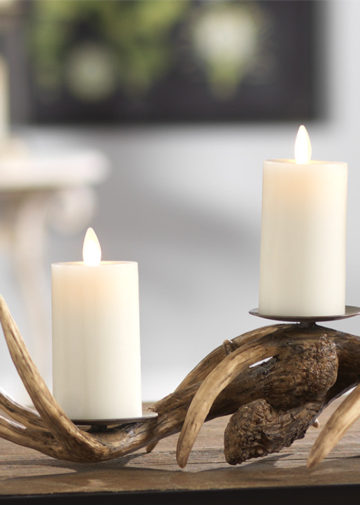 """Liown 2"""" x 3"""" Set of 2 Moving Flame Votive Battery Wax Ivory Unscented Candle 15491"""