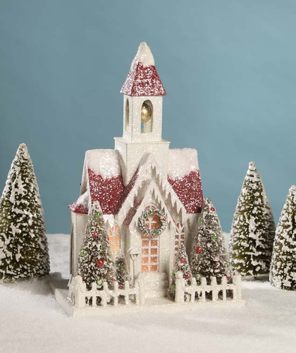 "Bethany Lowe 15,5 ""Vintage Putz Church Christmas House LC4590"