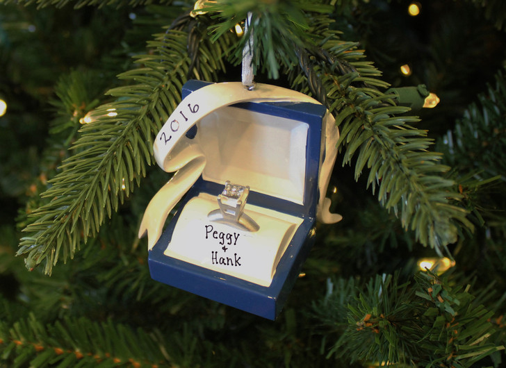 Couples Engagement Ring In A Box Personalized Christmas Ornament