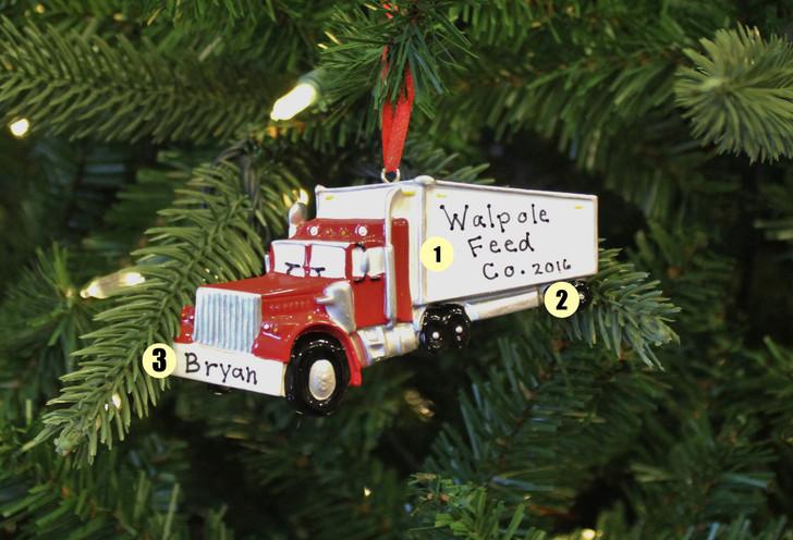 Semi Truck Personalized Christmas Ornament