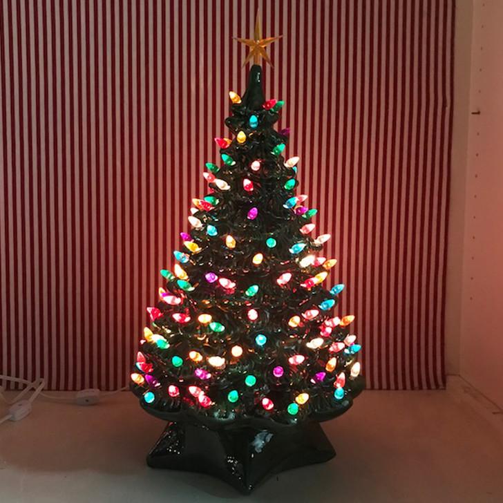 "21.5""  Medium 1950's Lighted Green Ceramic Christmas Tree"