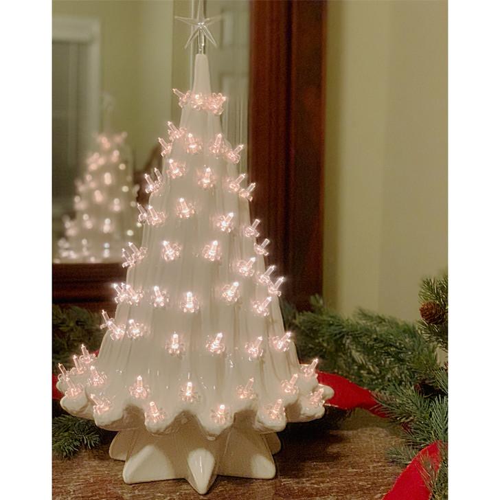 """Stor oplyst hvid keramisk is juletræ 23 """""""