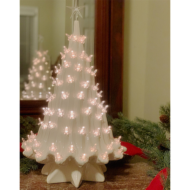 Large Lighted White Ceramic Ice Christmas Tree 23""