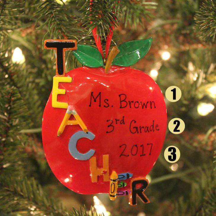 """Kurt Adler 5 """"Teacher's Apple Personalised Christmas Ornament C6559"""