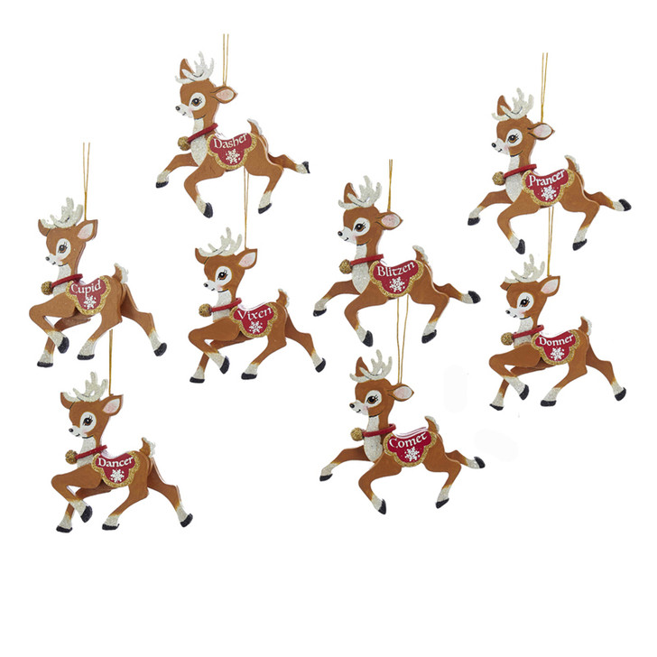 "Kurt Adler 4"" Wooden Santa's Reindeer Christmas Ornament Set of 8 C6875"