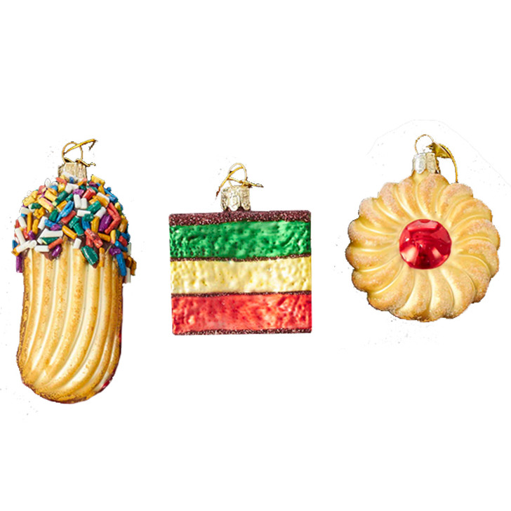 "Kurt Adler 2.5"" Noble Gems Set of 3 Cookies Glass Christmas Ornament NB1199"