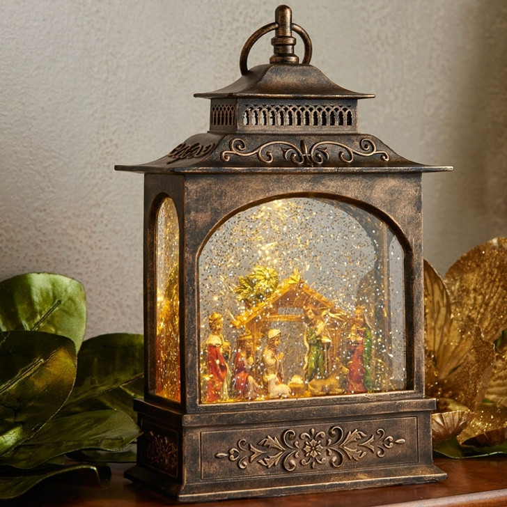 "Raz 11"" LED Lighted Nativity Scene In Bronze Water Globe Lantern Christmas Figure 3740512"