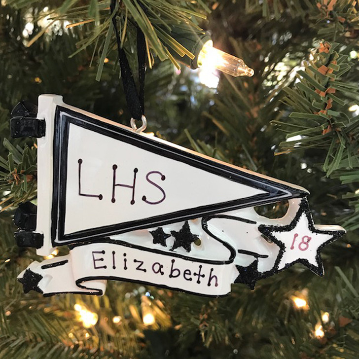 Glittered Black Sports Pennant Personalized Christmas Ornament OR1558-BK