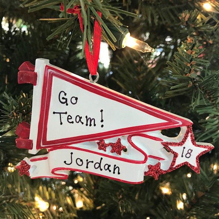 Glittered Red Sports Pennant Personalized Christmas Ornament OR1558-RD