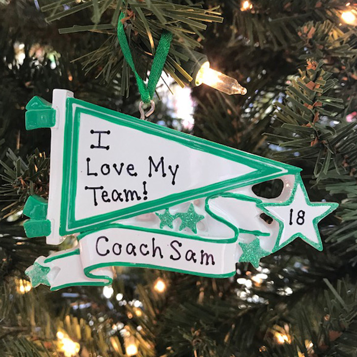 Glittered Green Sports Pennant Personalized Christmas Ornament OR1558-GR