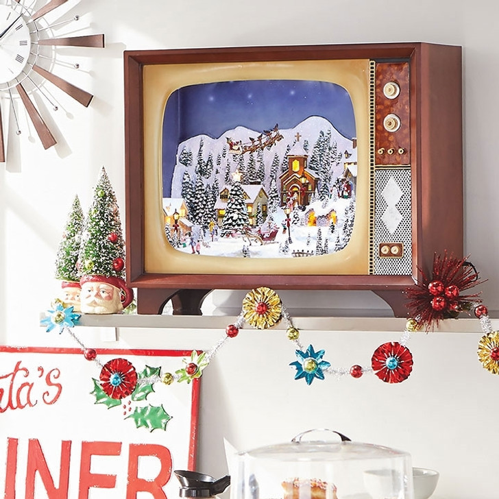 "Raz 23"" Large Animated Musical Lighted Retro TV with Village Scene 3716477"