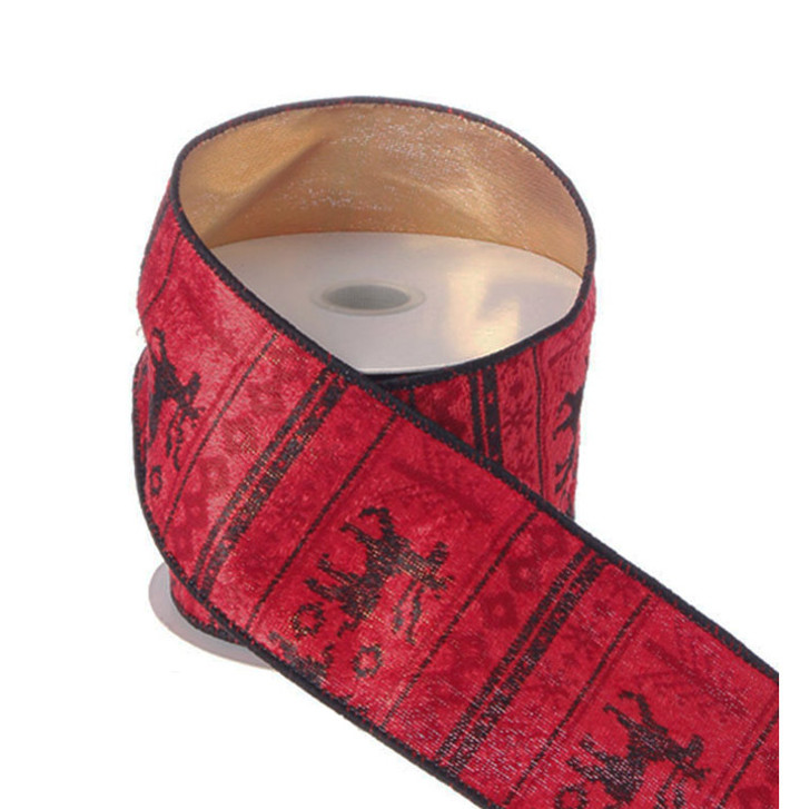 """Raz 2.5"""" Red and Black Deer Print Reversible Wired Christmas Ribbon R3304218"""