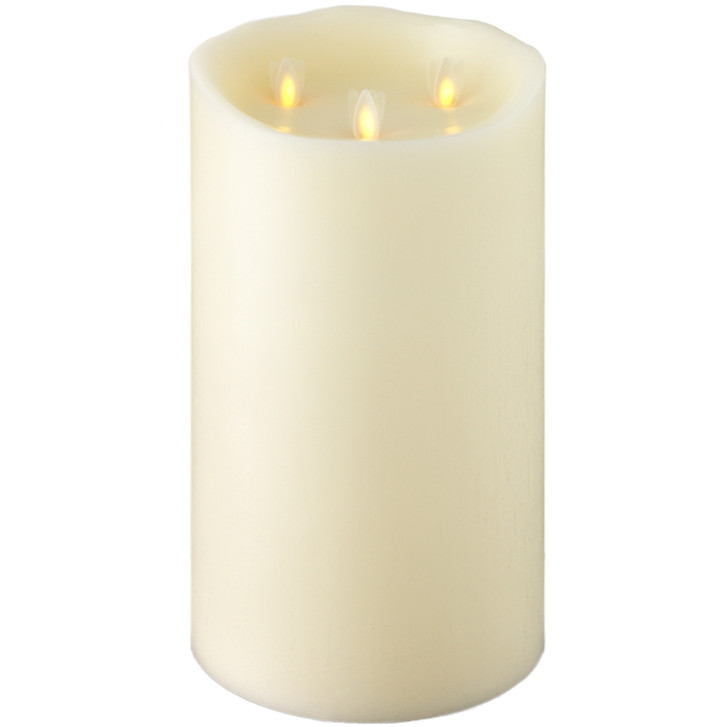 """Liown 10"""" Moving Triflame Ivory Unscented Battery Candle 18017"""