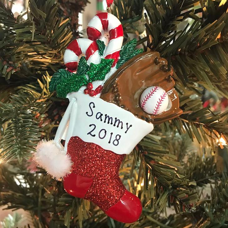 "Kurt Adler 4.5 ""Baseball Stocking Personligt julepynt W8297B"