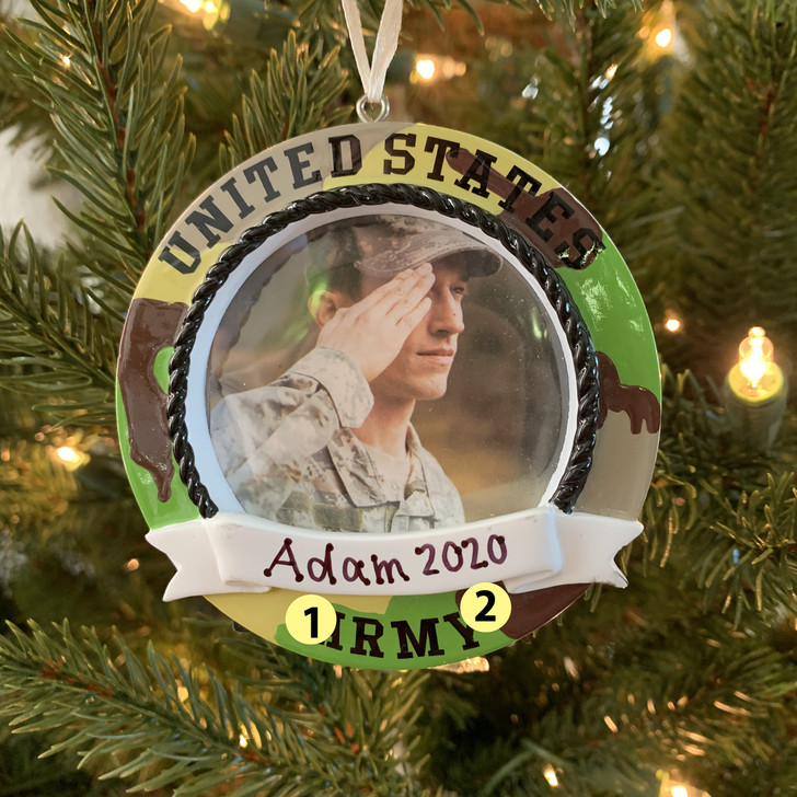 Personalized Camo Army Frame Christmas Ornament -2