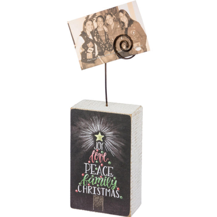 Primitives By Kathy Christmas Tree Chalk Block Photo Holder 32451