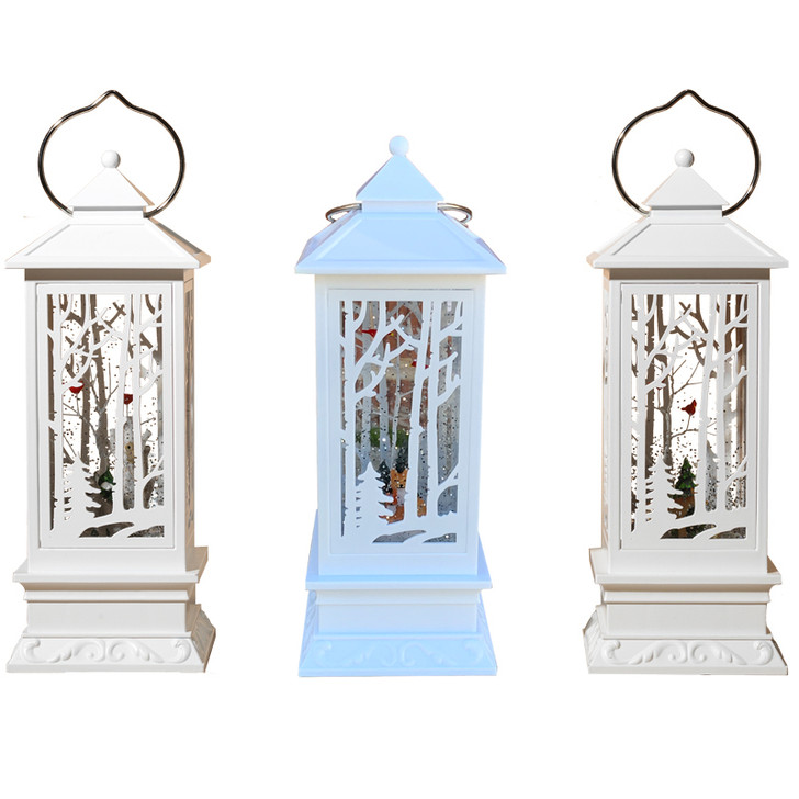 """10"""" Lighted White Winter Scene Spinning Water Globe Lantern with Cardinals 2429130"""