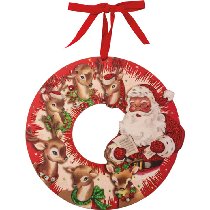 """13"""" Primitives By Kathy Red Retro Santa and Reindeer Wooden Christmas Wreath 32272"""
