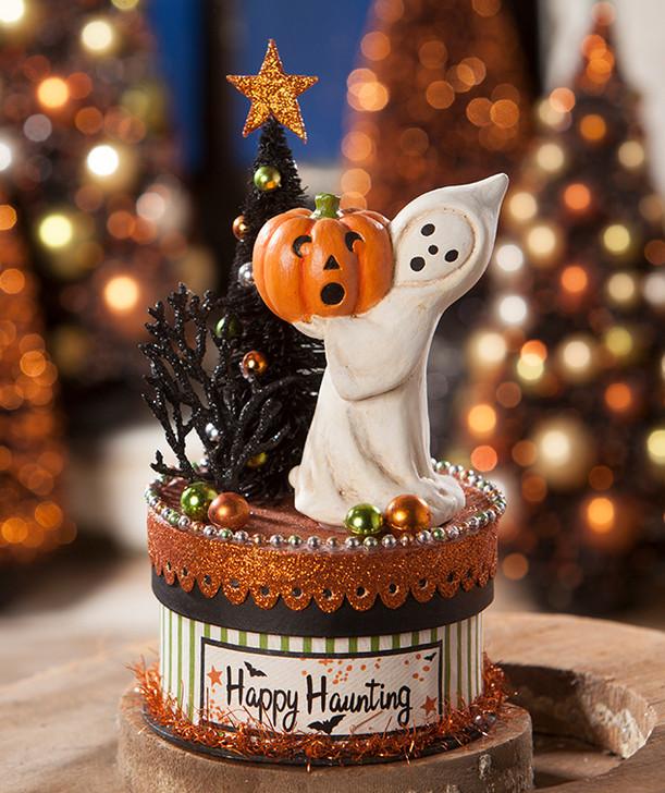 "8"" Bethany Lowe Happy Haunting Ghost on Box Halloween Figure TL7812"