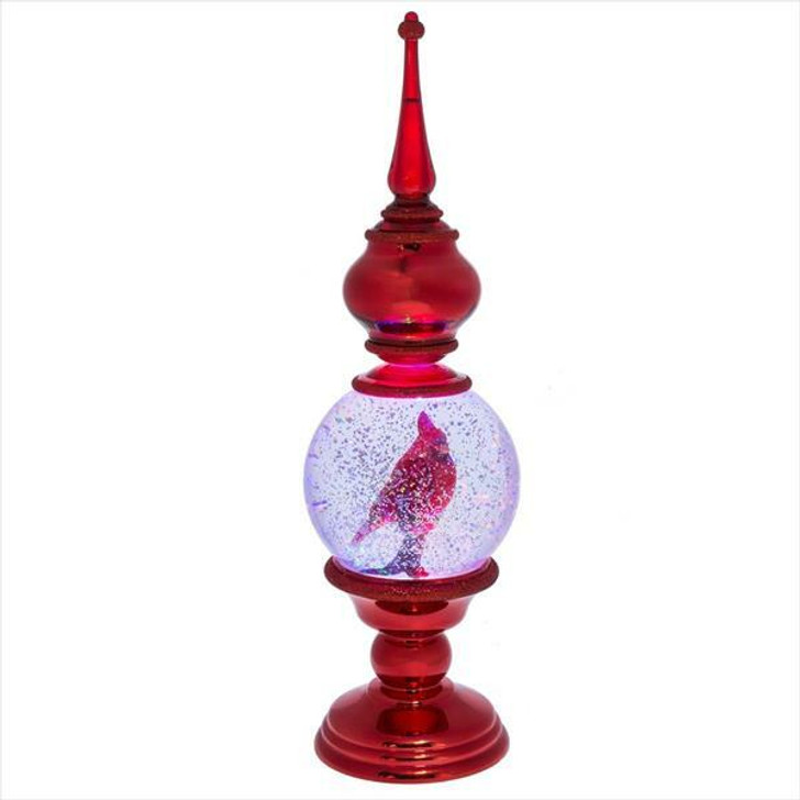 "16"" Battery Operated Lighted Cardinal in Finial Shimmering Water Globe 151129"