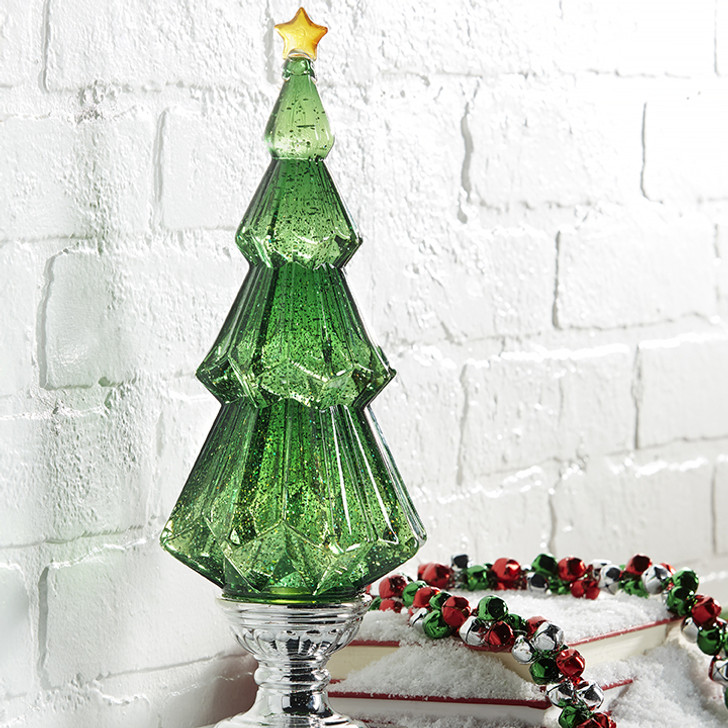 """Raz 14"""" Battery Operated LED Lighted Green Shimmering Water Globe Christmas Tree 3919211 2"""
