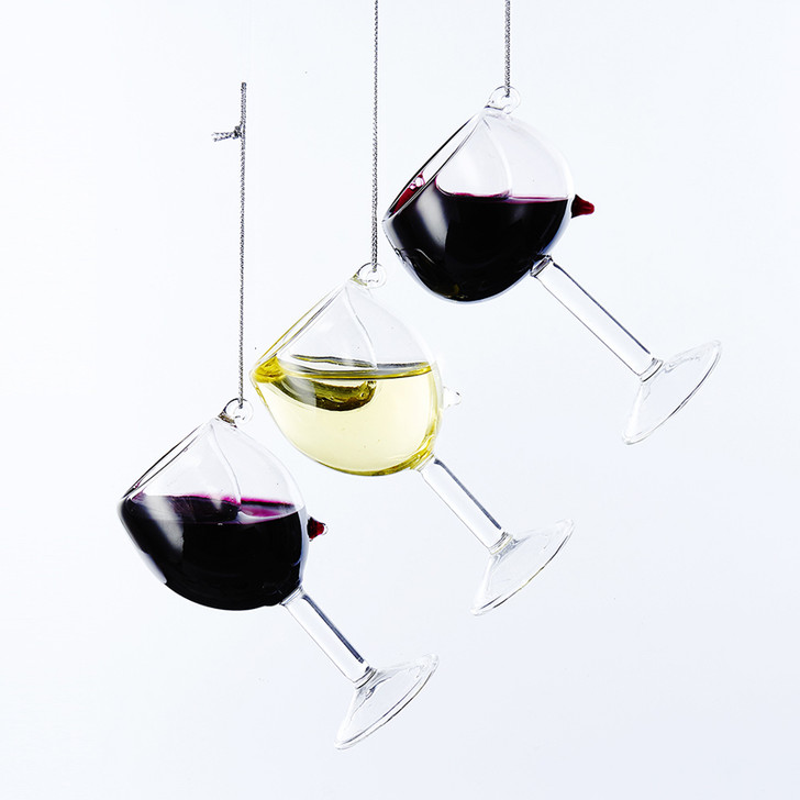 "Kurt Adler 4"" Realistic Wine Glass Christmas Ornament D2991"