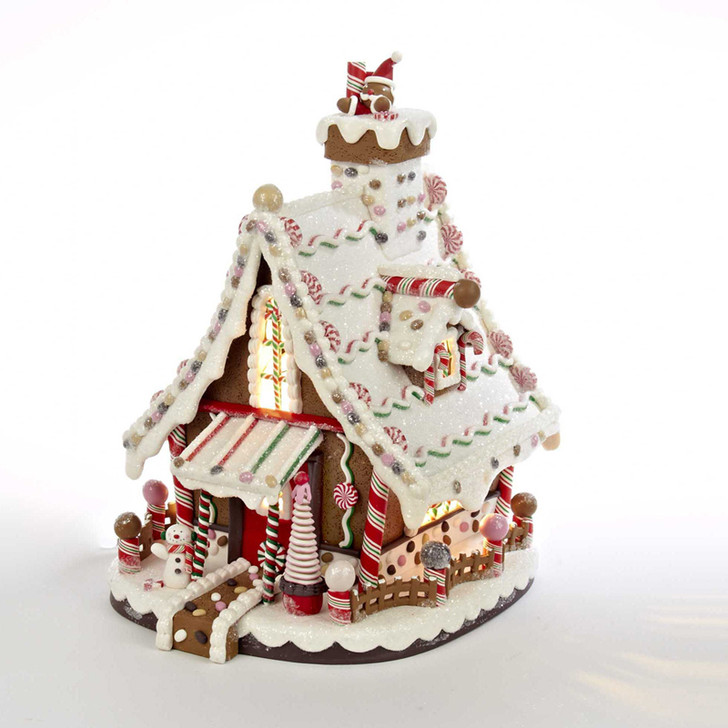 "Kurt Adler 12"" Electric Lighted Claydough Gingerbread House Christmas Figure J3628"