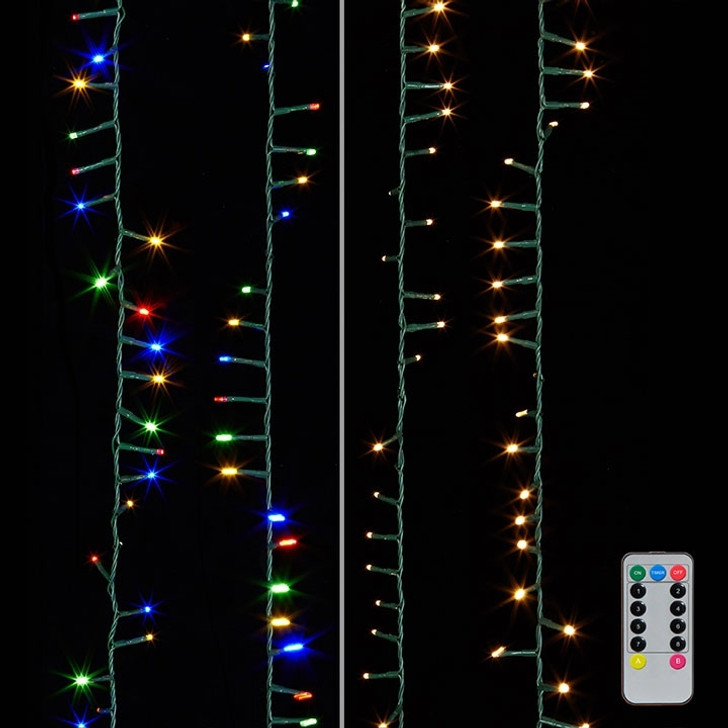 Raz 73.8' Warm White and Multicolor Compact Snake Lights on a Green Wire G3837077