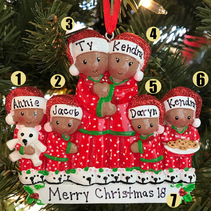 African American Family of 6 Personalized Christmas Ornament -3