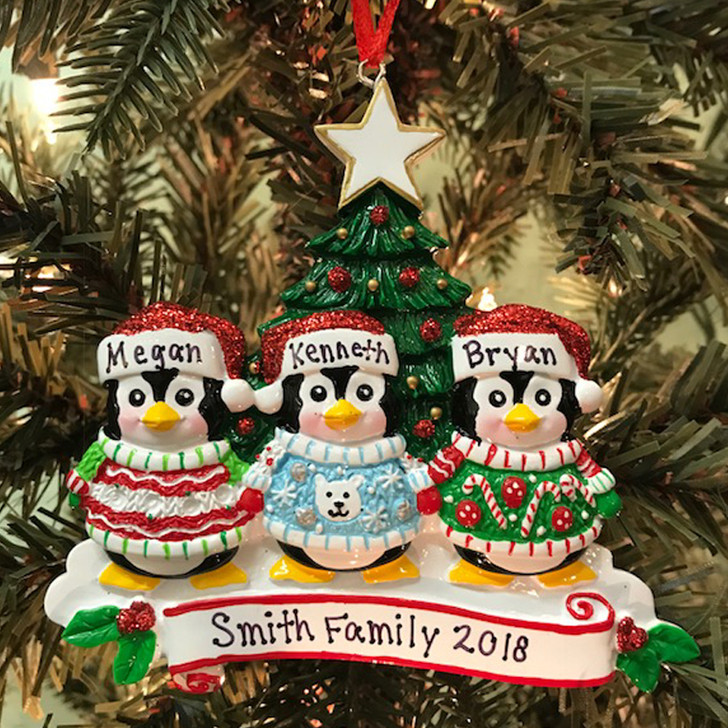Ugly Sweater Penguin Family of 3 Personalized Christmas Ornament