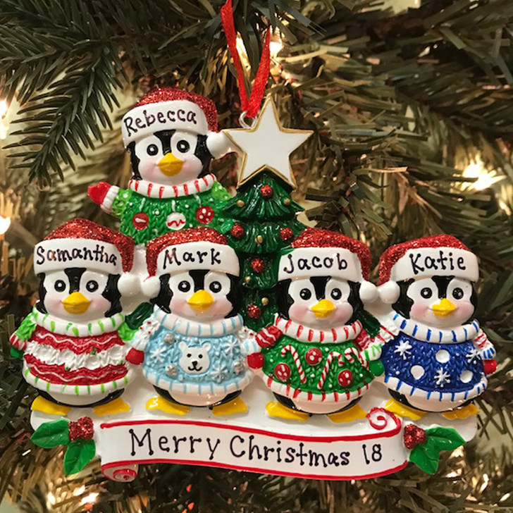 Ugly Sweater Penguin Family of 5 Personalized Christmas Ornament