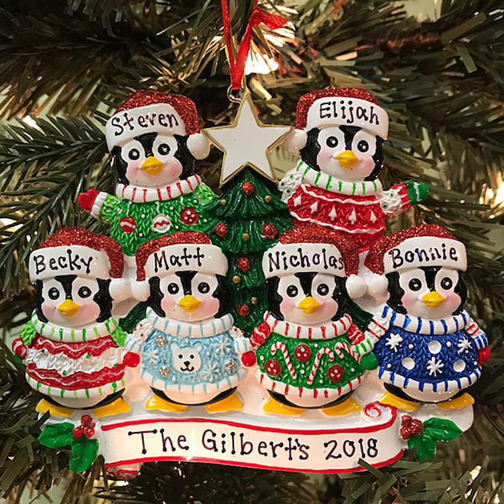 Ugly Sweater Penguin Family of 6 Personalized Christmas Ornament