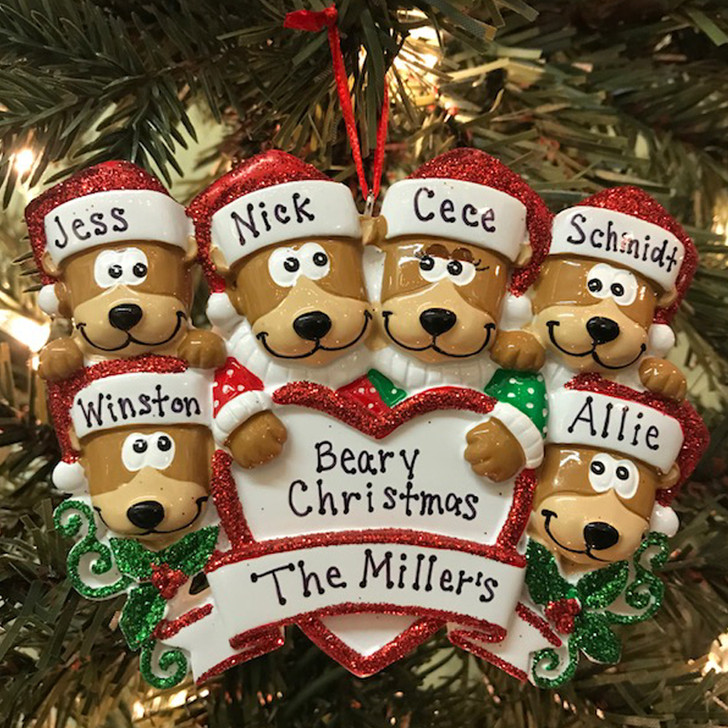 Bear Family of 6 with Heart Personalized Christmas Ornament