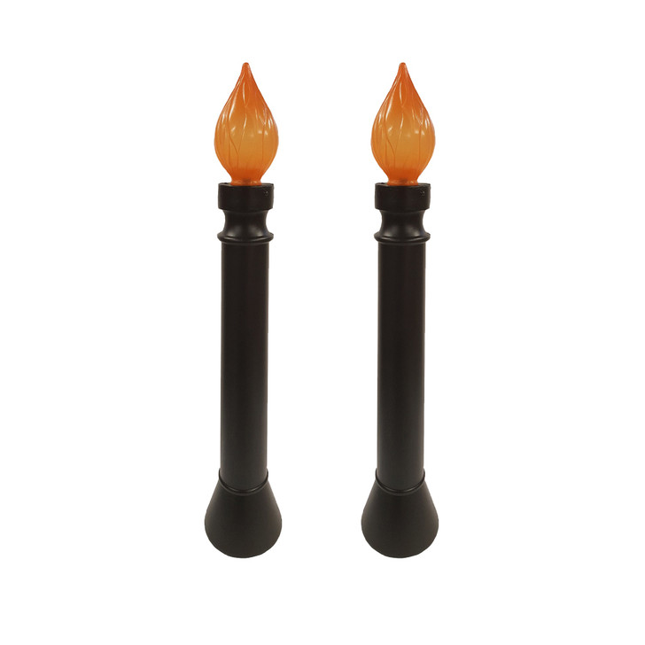 """40"""" Set of 2 Lighted Black Candle Blow Mold Halloween Decoration 62300"""