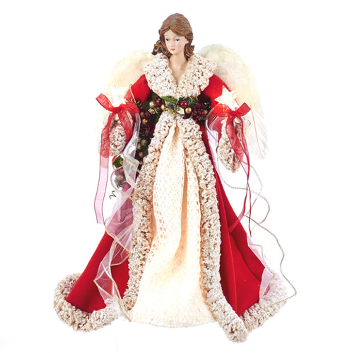 "16"" Red and Ivory Angel Christmas Tree Topper UL2218"