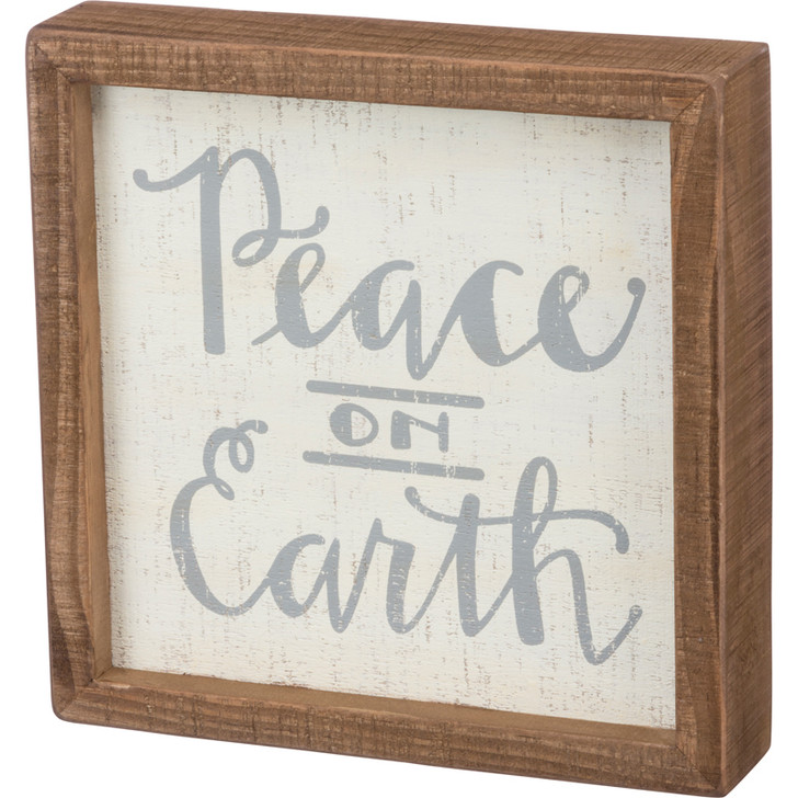 "Primitives By Kathy 8"" Peace On Earth Christmas Box Sign 100300"