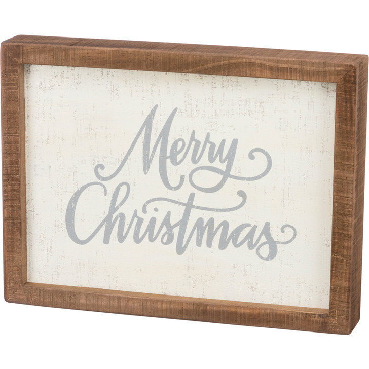 "Primitives By Kathy 9"" Merry Christmas Wooden Box Sign 100298"