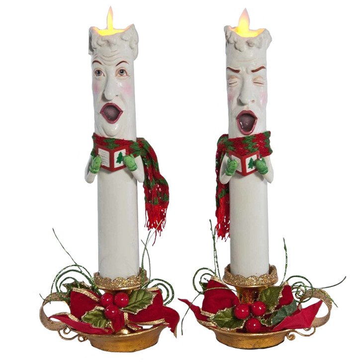 "Katherine's Collection 12.5"" Christmas Caroler Candle Sleeves Set of 2 28-828336"