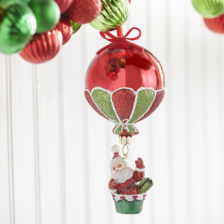 "Raz 6.25"" Santa in Hot Air Balloon Glass Christmas Ornament 3952860"