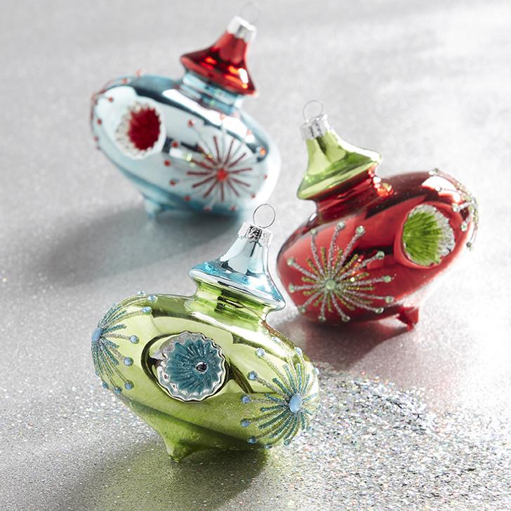 "Raz 3.5"" Retro Reflector Glass Christmas Ornament 3922808"