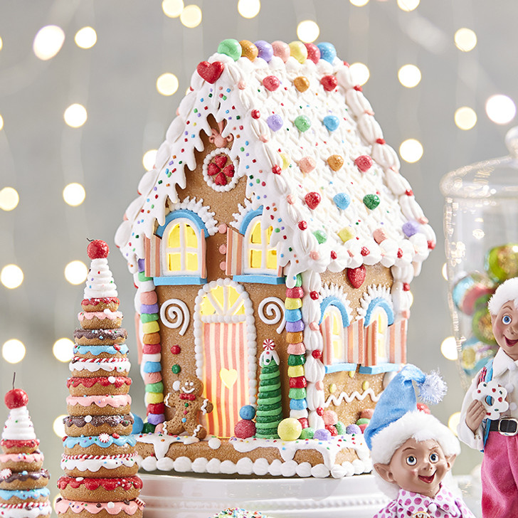"Raz 14"" LED Lighted Claydough Pastel Colored Gingerbread House Christmas Figure 3919187"